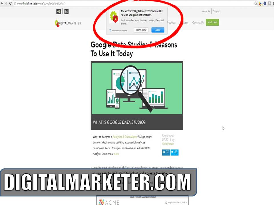 digitalmarketer.com using push notifications